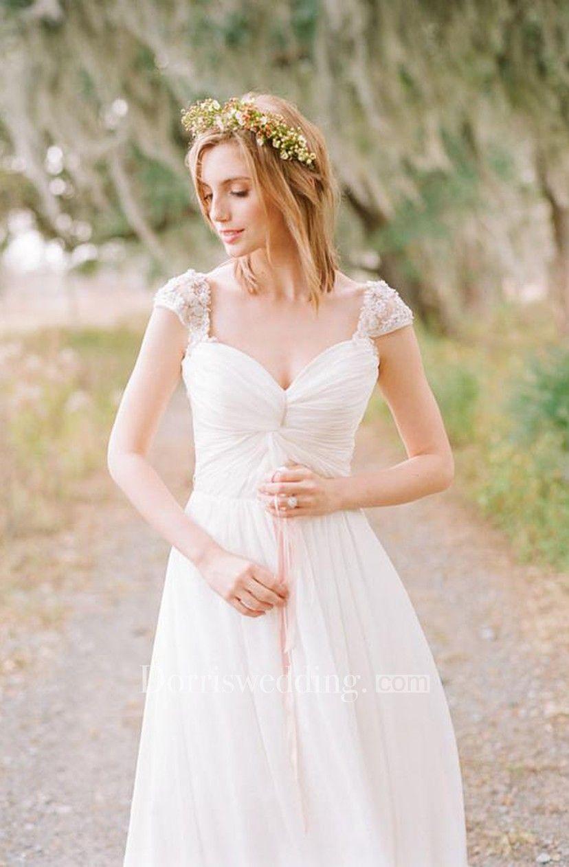 Elegant cap sleeve long chiffon sweetheart wedding dress not
