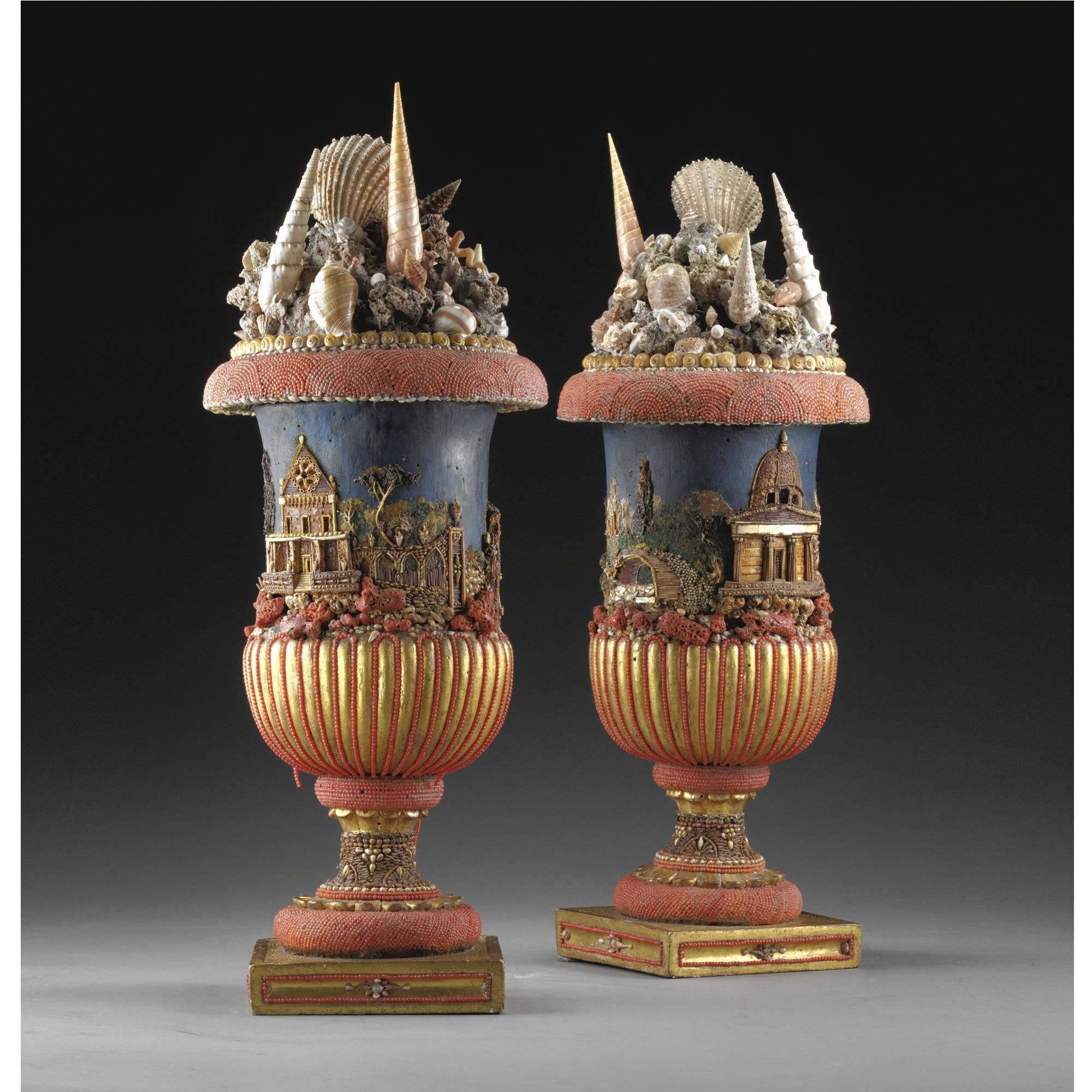 Italian, Sicily, 18th century PAIR OF COVERED VASES coral, gilt bronze and shells.