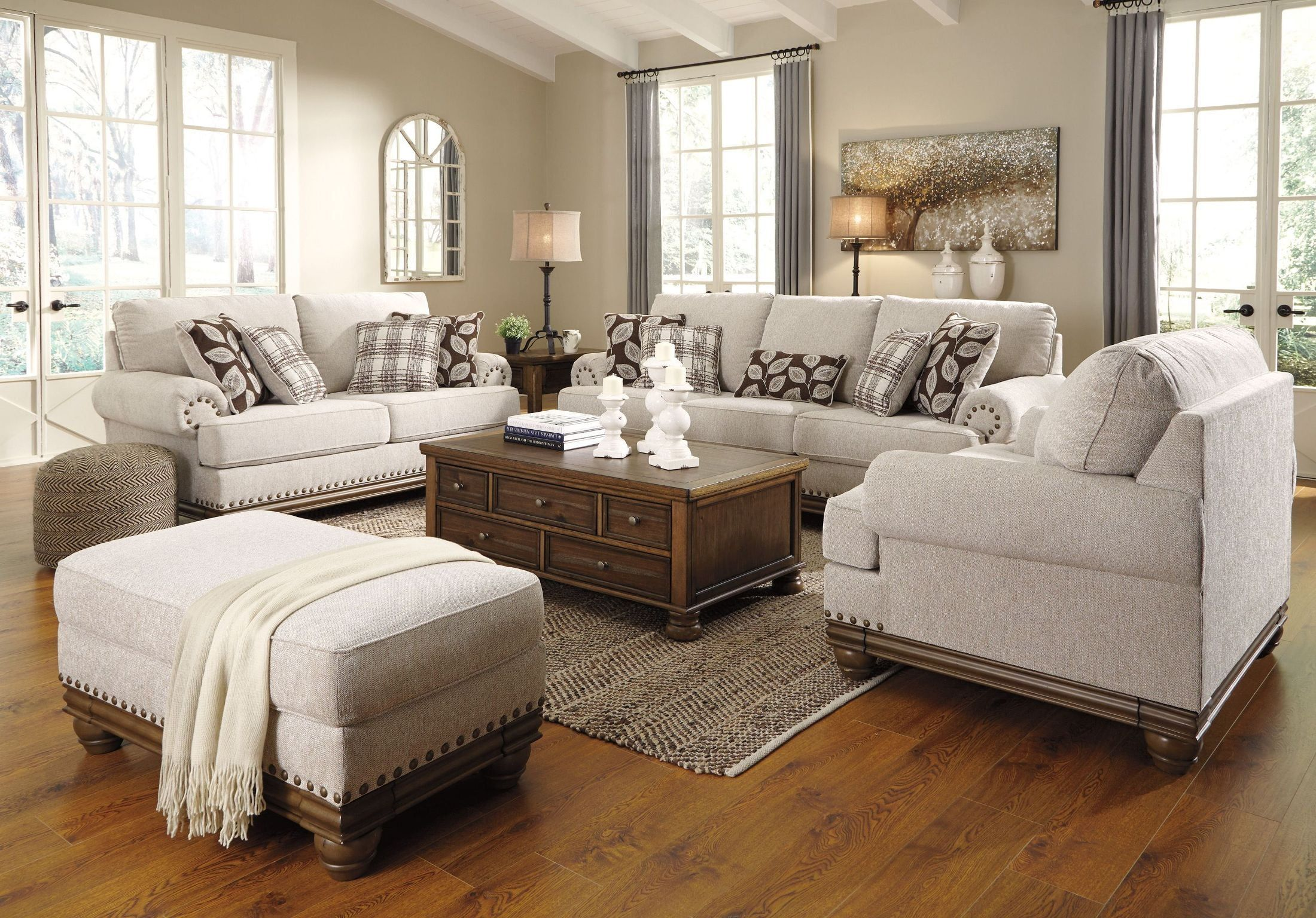 Harleson Wheat Living Room Set In 2020 Country Living Room Farm House Living Room Livingroom Layout