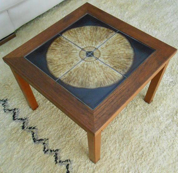 Mid Century Basement: Mid Century Danish Modern Teak Table Tile Top By
