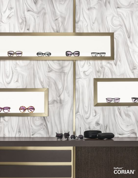 Corian® Gray Onyx creates a stunning display backdrop Commercial - badezimmer corian
