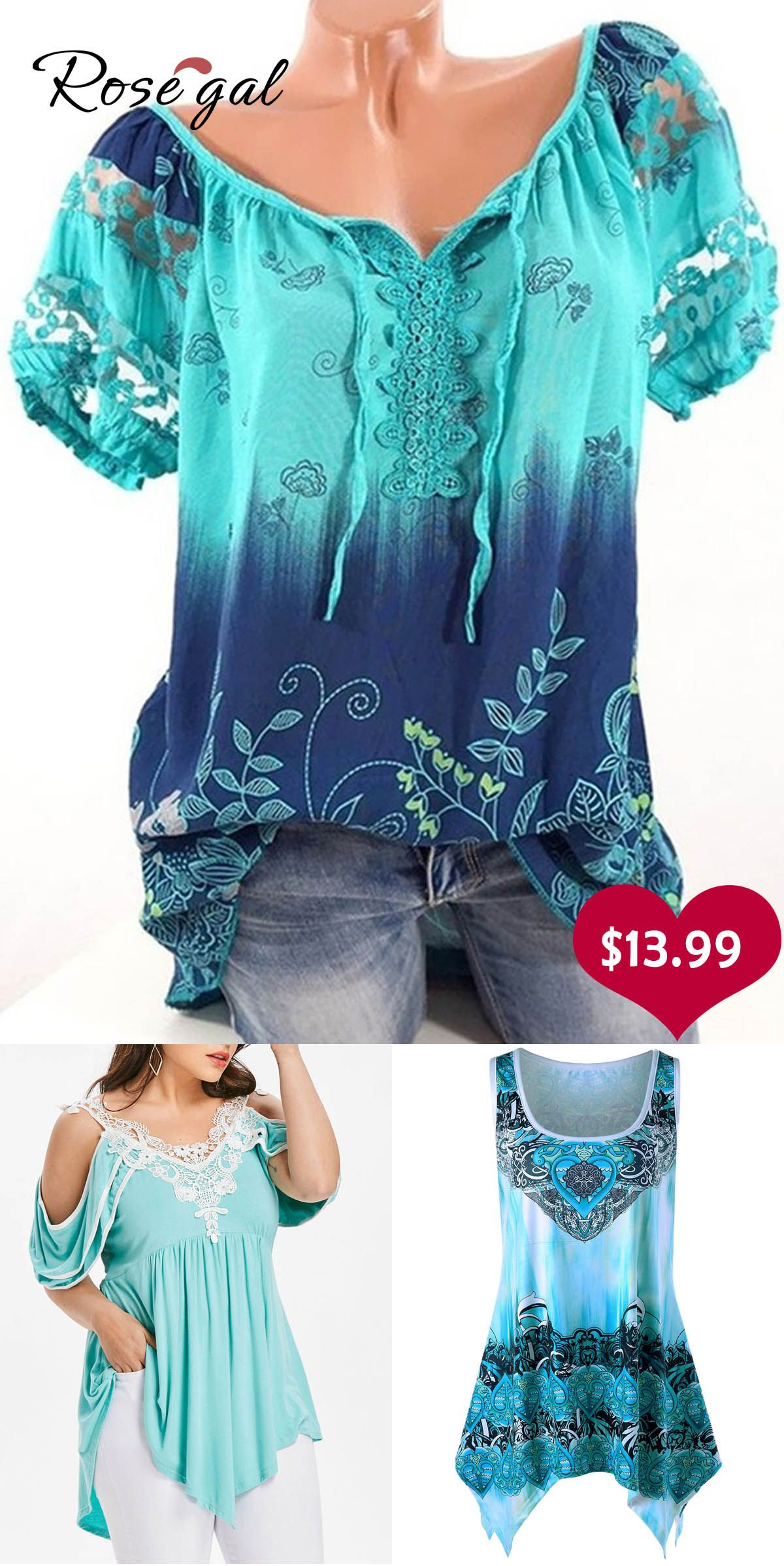 a8b809ed040a73 Free shipping over $45, up to 75% off, Rosegal V-neck Printed Lace Short- sleeved T-shirt | #rosegal #tops #plussize #tshirts