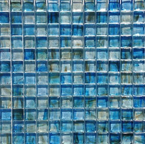 Clear Glass Mosaic Tile Stained Blue 12x12 Tile Stained Recycled Glass Tile Mosaic Glass