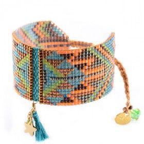Bracelet manchette souple perles miyuki et pompon MISHKY MACUI BLEU CANARD  VERT SAUMON