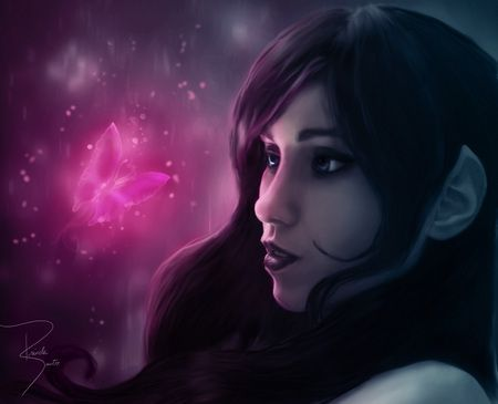 Love can save her - light, face, pink, manipulation, fairy, rose ...