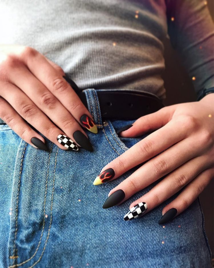 Pin By Gretchen Ingram On Nails Grunge Nails Edgy Nails Checkered Nails