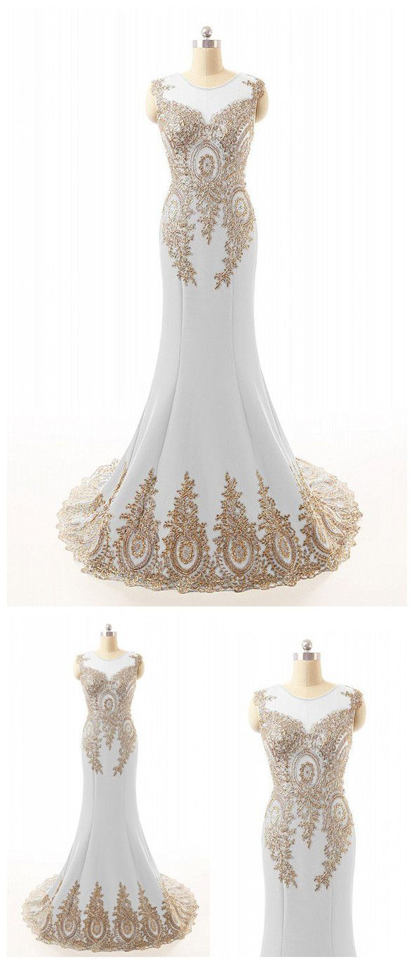 Scoop appliques lace gold and white mermaid chiffon long prom dress