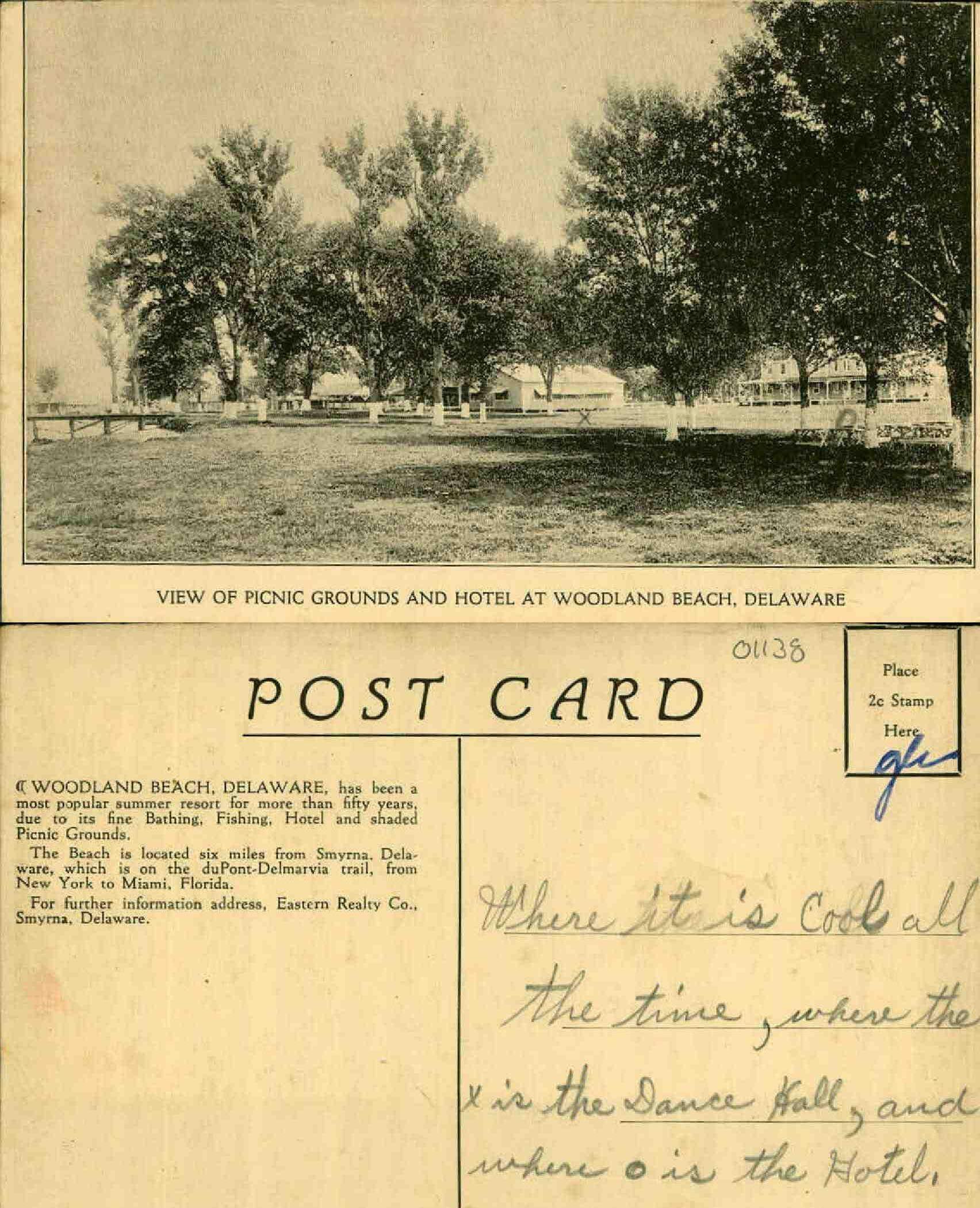 Woodland Beach Delaware Postcard George And Irene Caley