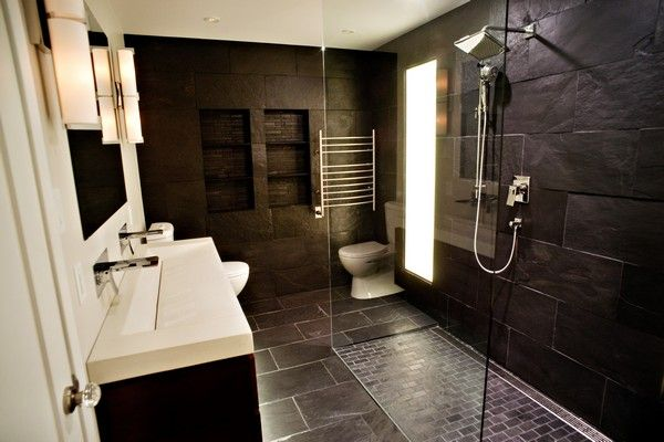 Open Shower Ideas Awesome Doorless Shower Creativity Bathroom Interior Design Small Dark Bathroom Black Interior Design