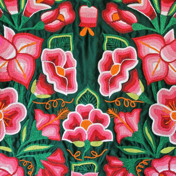 Blusa mexicana, estilo Frida, Huipil bordado a mano, crochet, satín ...