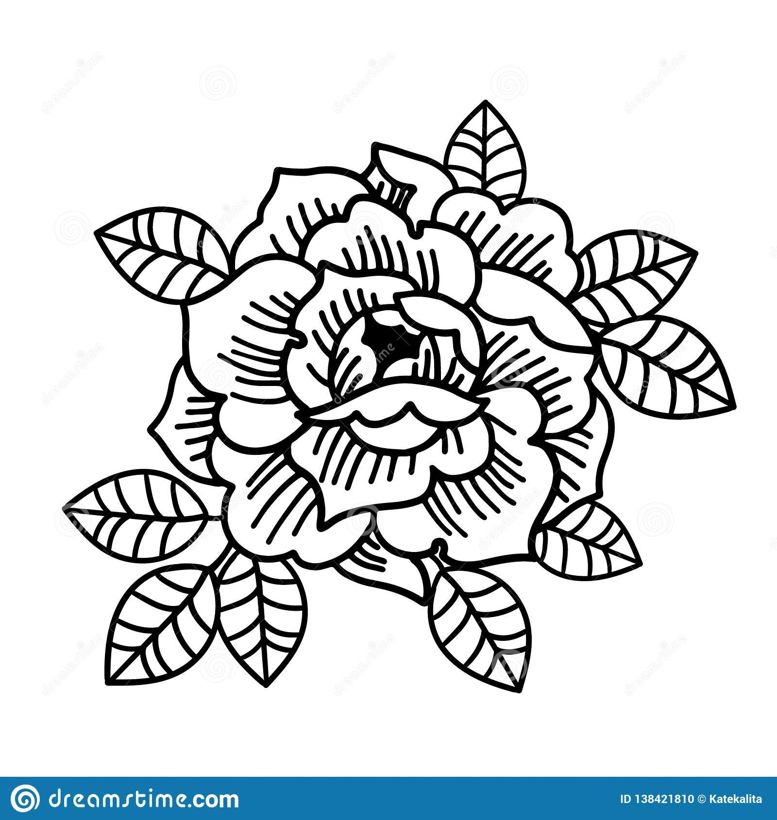 Tattoo Rose flower.Tattoo, mystic symbol Isolated vector