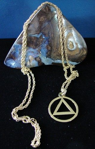 Gold Plated Alcoholics Anonymous 7 8 Aa Symbol Pendant And Necklace