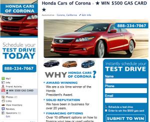 Honda Cars Of Corona >> Facebook Page Lead Generation Page Of Honda Cars Of Corona