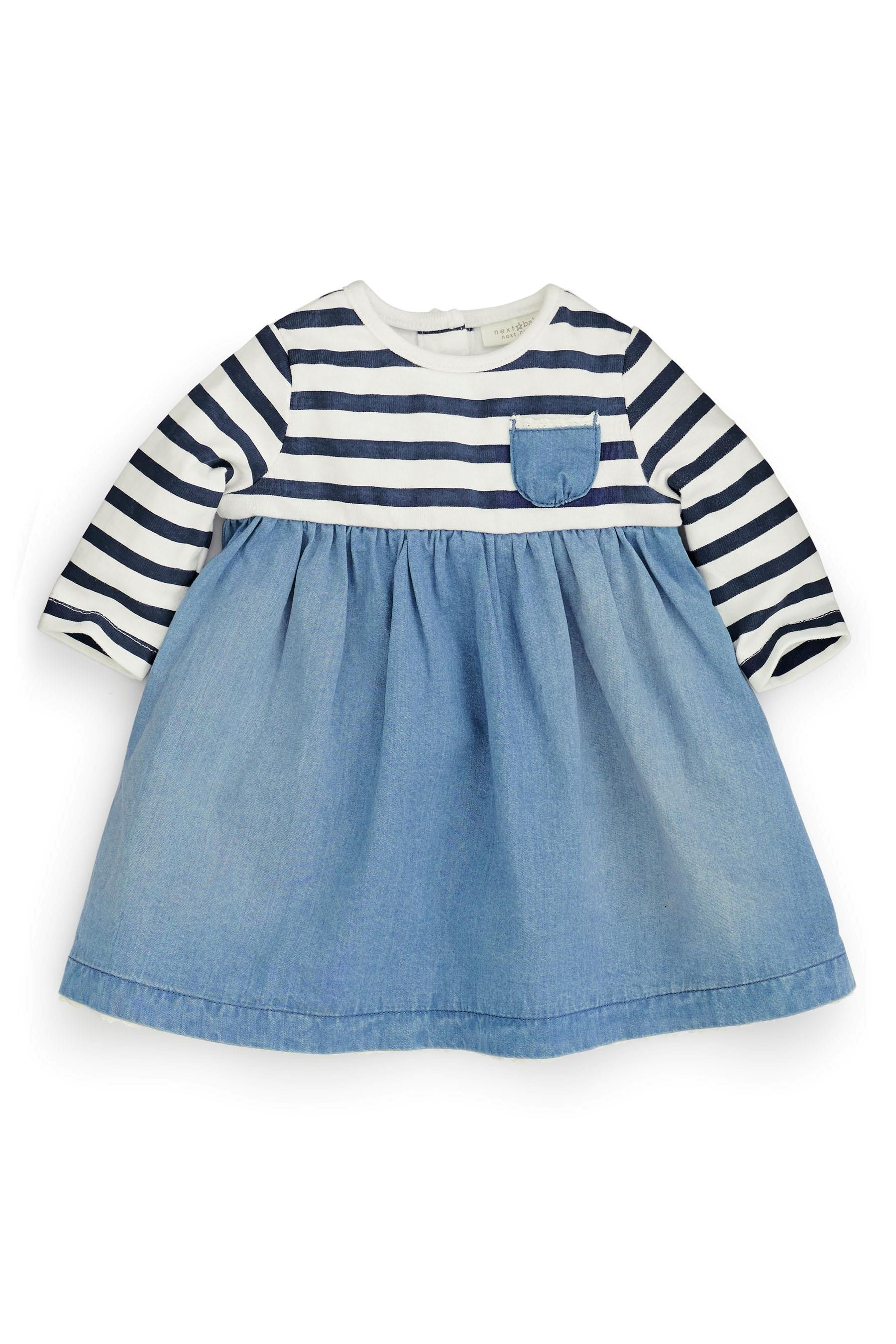 Buy Stripe Denim Dress And Tights Set (0-18mths) from the Next UK online shop