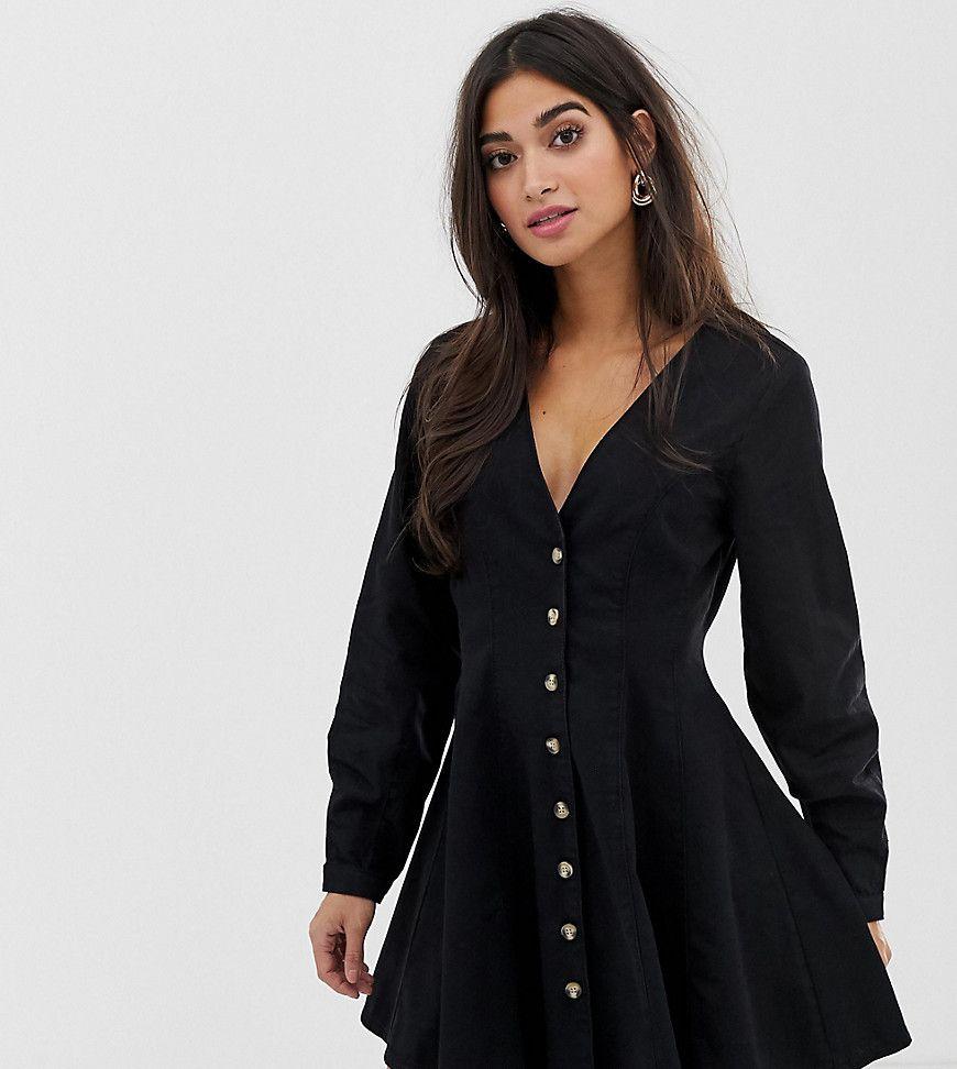 Asos Design Petite Denim Long Sleeve Button Through Tea Dress In Washed Black Women Dress Online Pleated Mini Dress Clothes [ 972 x 870 Pixel ]