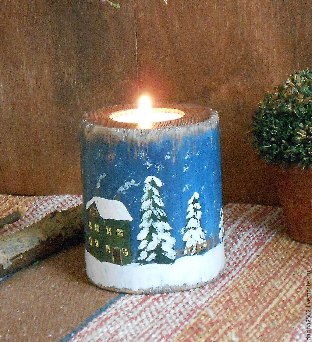 """Купить Подсвечник из дерева """"Новогодняя сказка"""" - синий, подсвечник ручной работы, подсвечник из дерева"""