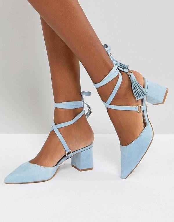 91100153e38c RAID Kiley Light Blue Mid Heeled Tassel Shoes