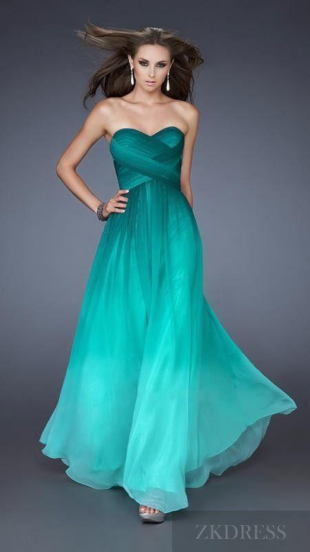 Cute Sweetheart Long Column Chiffon Sleeveless Prom Dress
