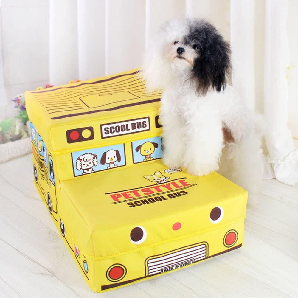 Amazon Gifty 犬用 バス型収納ステップ 階段 踏み台 2段 ドッグ ステップ スロープ ヘルニア防止 猫用 小型犬用 ペット用 イエロー Gifty ステップ 通販 Pet Stairs Cat Stairs Pets