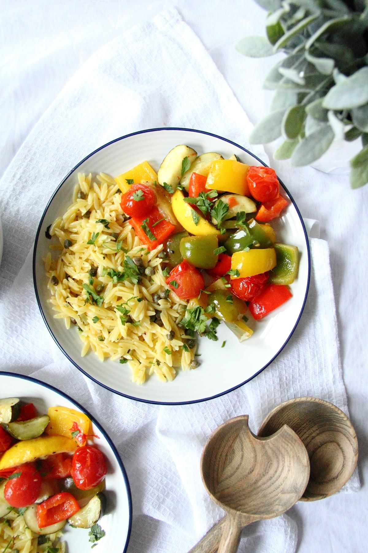 30 Minute Lemon Roasted Vegetables And Orzo Pasta Traybake Vegan
