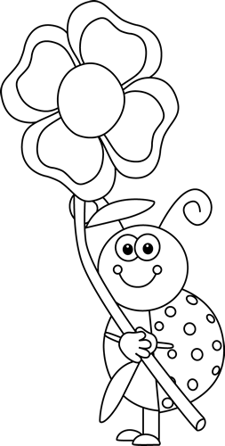 Black And White Laydbug Holding A Flower Clip Art