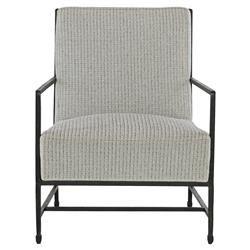 Zelena Industrial Black Iron Grey Tweed Armchair   Kathy Kuo Home