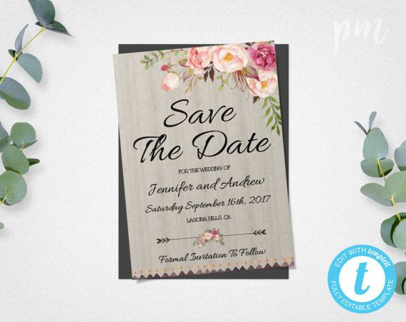 Bohemian Save The Date Template Floral Boho Diy Save The Date