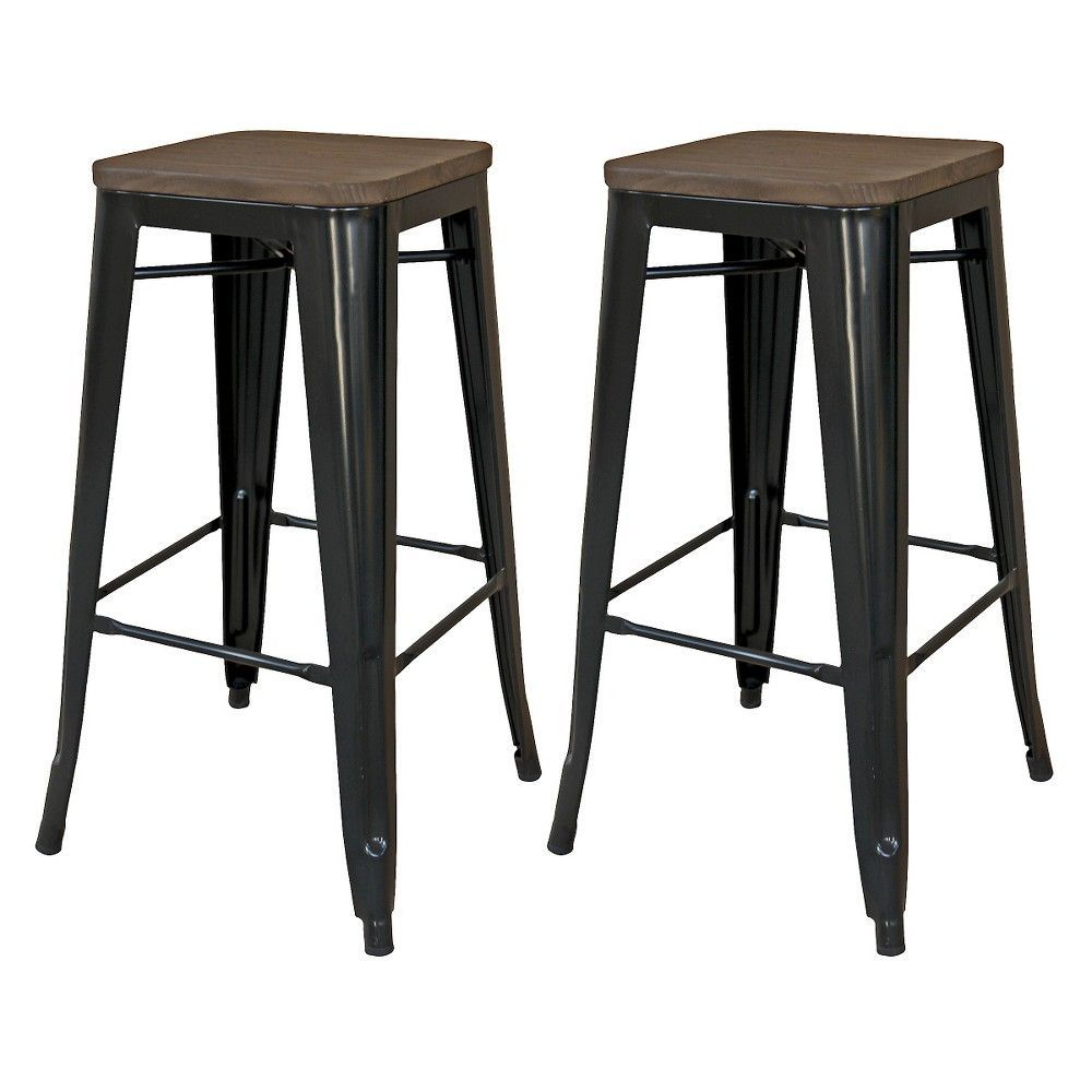 Hampden Industrial 29 Quot Barstool Black Set Of 2