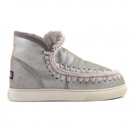Mou Grey Mini Eskimo Sneaker Boots rZhyfouN