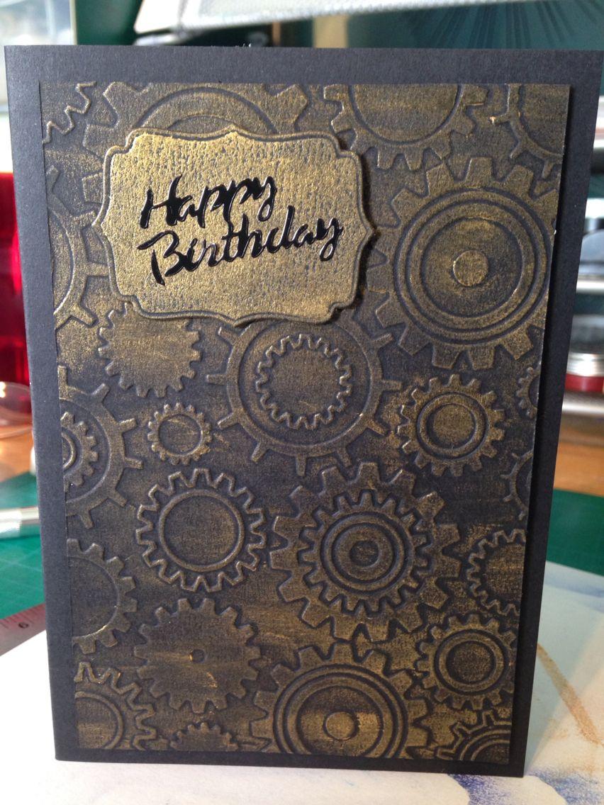 Card Making Ideas Using Embossing Folders Part - 42: Masculine Birthday Card - Using Embossing Folder And Gilding Wax Idea