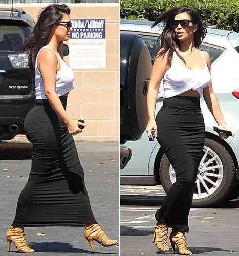 Keeping It Cool! Kim Kardashian Wears '80s Style Top, Tight Skirts ...