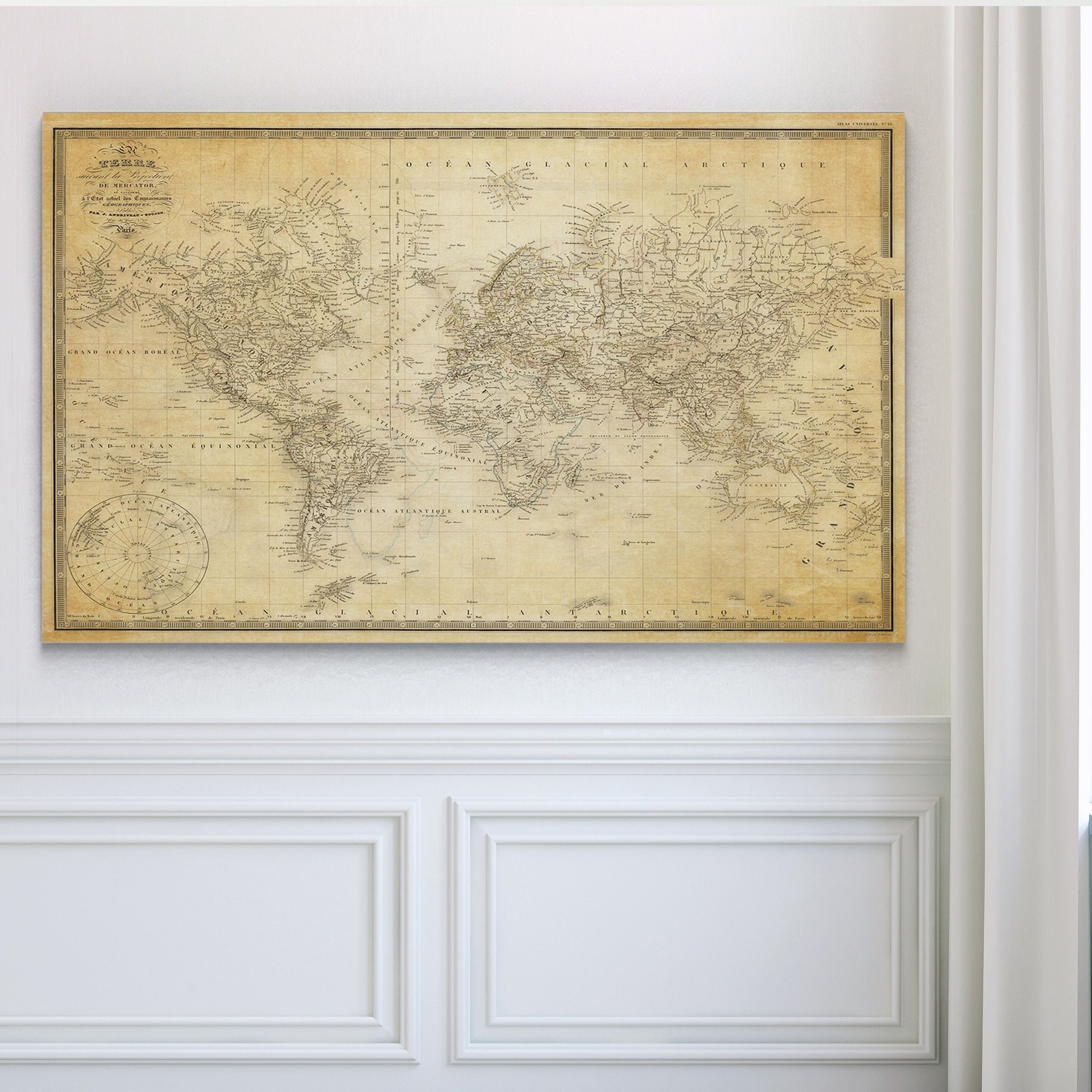 Wexford Home Vintage Wold Map V Parchment Premium Gallery
