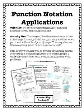 Function Notation Applications Notations, Math stations