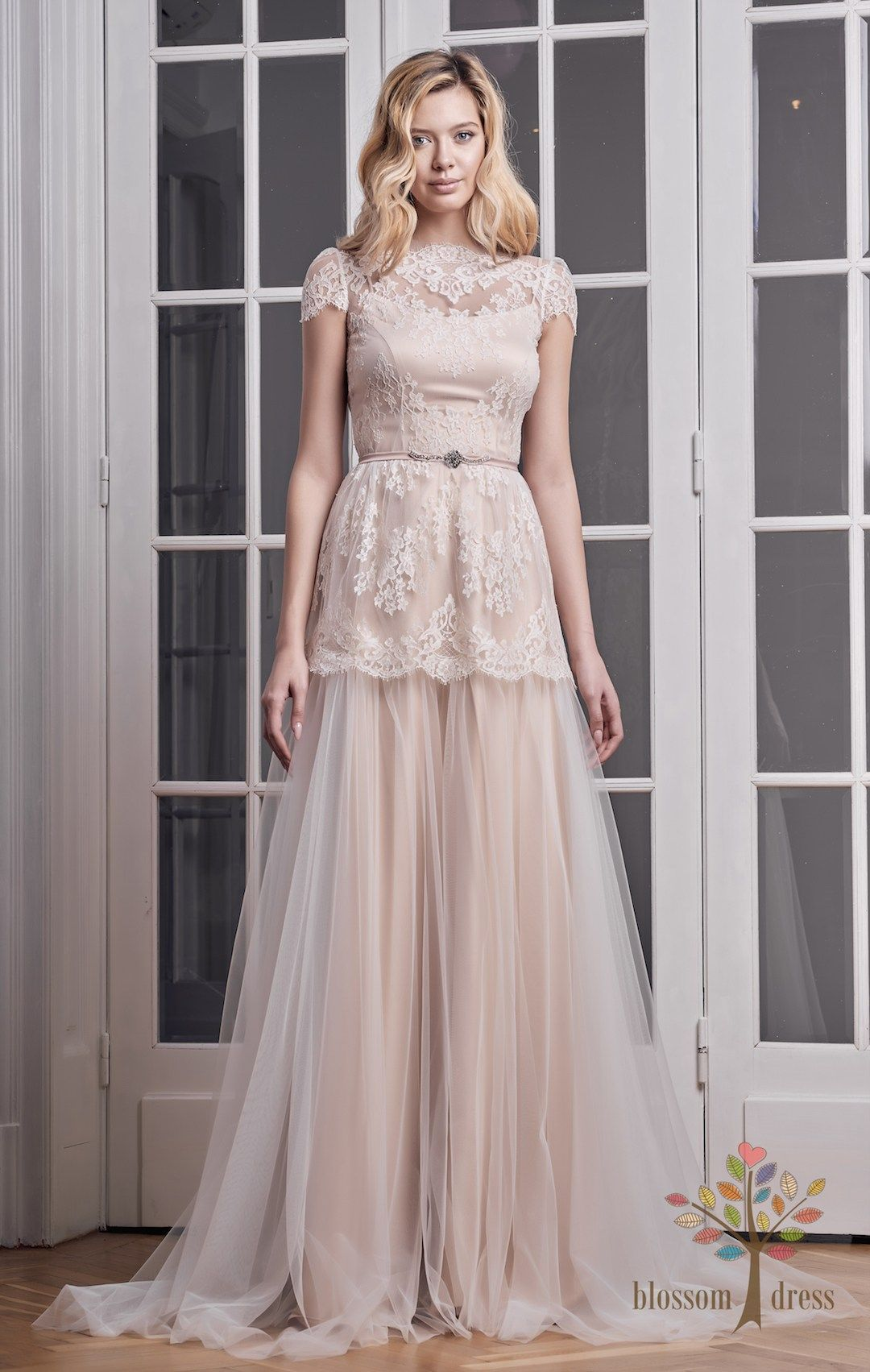 Bohemian Wedding Dress Made From A Delicate Solstiss French Lace And Soft Italian The Colour Is Beige Salmon Warm Pleasant