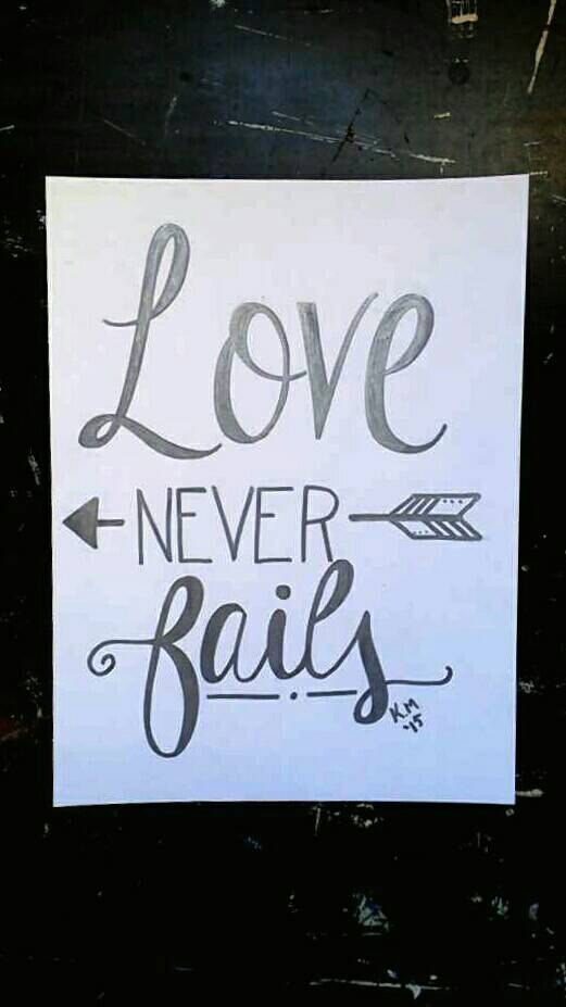 Love never fails hand lettering print calligraphy