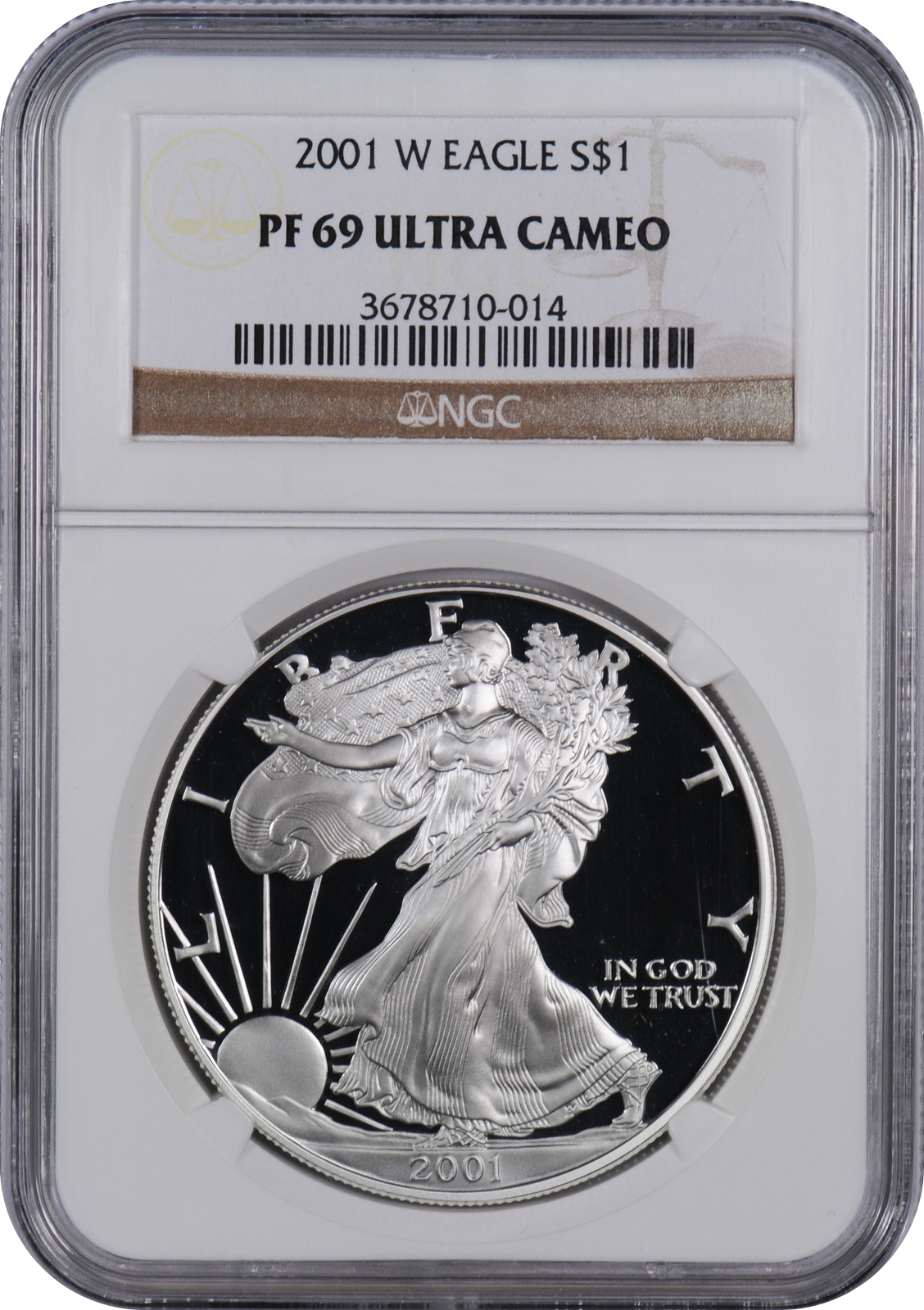 2001-W American Silver Eagle Proof NGC PF69 UCAM