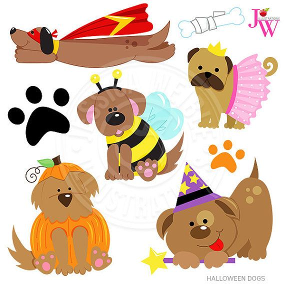 Halloween Dogs Cute Digital Clipart Halloween Puppy Clip Art
