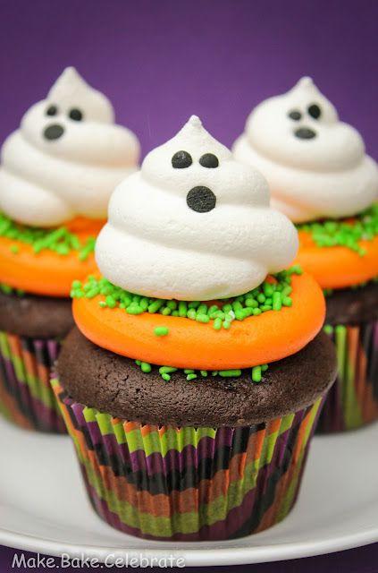 Ghost meringue cookies as cupcake toppers!