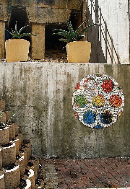 Ellispark Station Entrance, Soccer Ball Mosaic, Johannesburg, SA, via Derek Smith