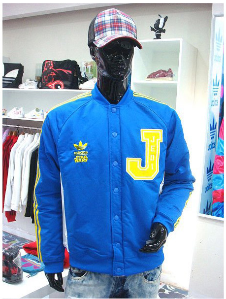 new style 178b9 0416e ADIDAS STAR WARS JEDI VARSITY REBELLION ATHLETICS BLUE YELLOW JACKET P01676  85