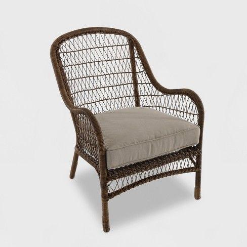 Open Weave Wicker Patio Accent Chair Tan Target Wicker