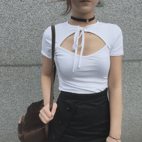 1fb303fb5945f itGirl Shop OPEN HOLE CHEST COTTON BOW SHORT SLEEVE CROP TOP Aesthetic  Apparel