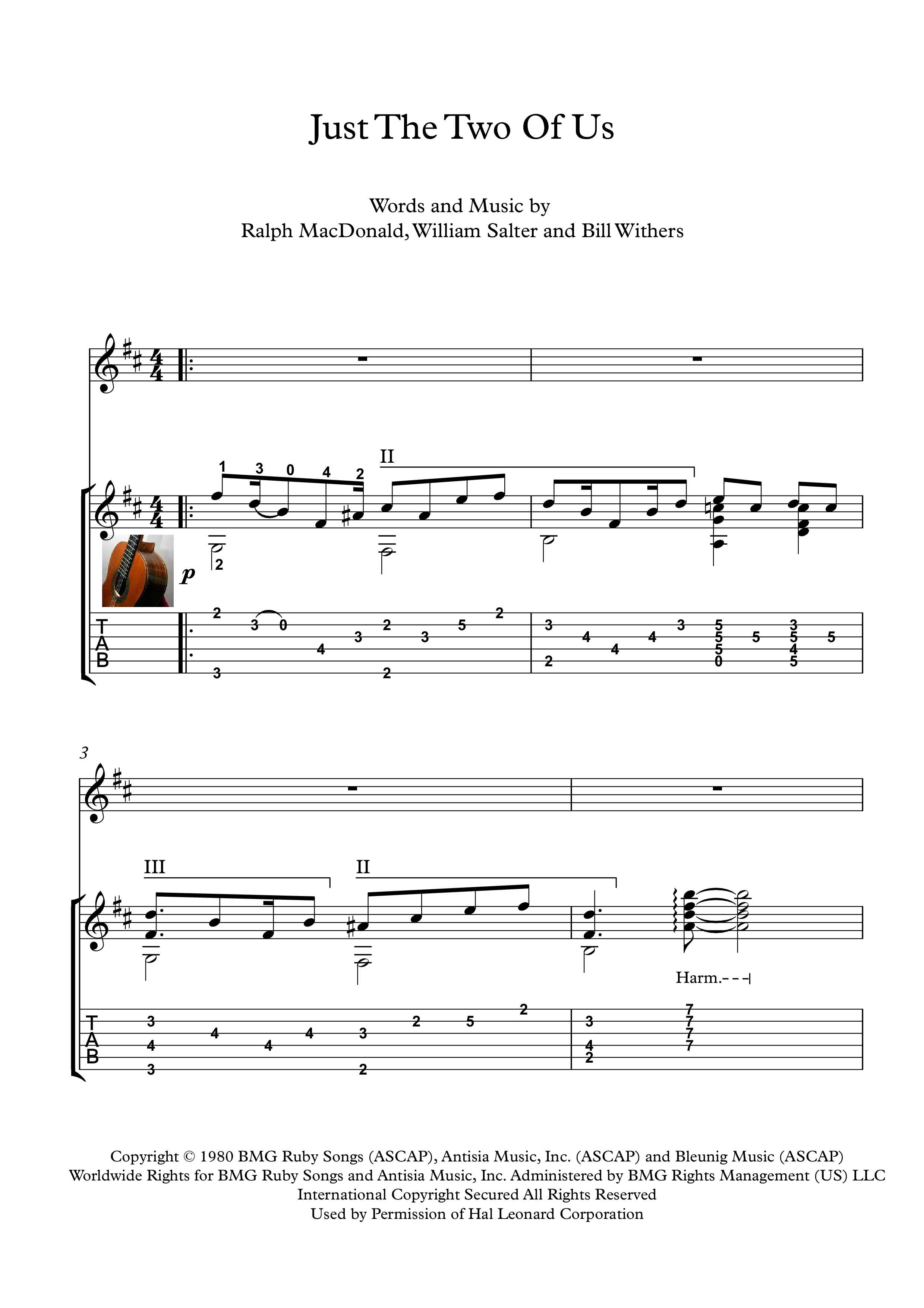 "Just the two of us guitar solo sheet music ""Just the Two of Us"" is a 1981  R&B single written by Bill Withers, William Salter and Ralph MacDonald."