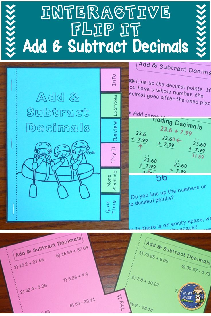 Adding and Subtracting Decimals Interactive Flip It Book   Students ...