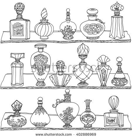 black and white vintage perfumes pattern for