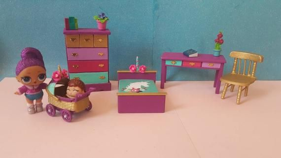 Lol Surprise Doll Custom Wooden Dollhouse Furniture Set Ooak Miniature