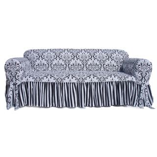 Outstanding Damask Stripe Ruffled Sofa Slipcover Vacation Home Pdpeps Interior Chair Design Pdpepsorg