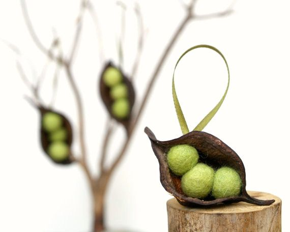 Natural Christmas Ornaments Pea Decorations Rustic By Fairyfolk