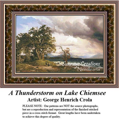 Fine Art Cross Stitch Pattern | A Thunderstorm on Lake Chiemsee, counted cross stitch, cross stitch kits, cross stitch designs, cross stitch pattern, fine art counted cross stitch, fine art cross stitch #stitching