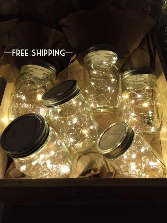 Firefly Lichter und Mason Jar, Outdoor Lightning, rustikal, Lichterketten, Mason Jar Lichter, Lichterkette, Hochzeitslichter, Hochzeit Herzstück #masonjardecorating